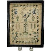 Small but fine 19th Century needlework sampler Jones Sister sampler