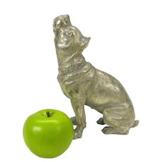 Large vintage silvered metal American Pit or Staffordshire Bull Terrier dog figure or statue