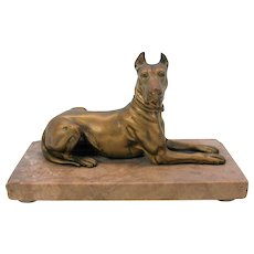Antique signed bronze figure of a recumbent Great Dane dog
