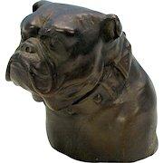 Antique Old English Bulldog bronze bust