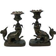 Pair early Chinese bronze Foo dog candlesticks