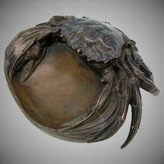 Signed antique bronze figural Crab inkwell H. Risch