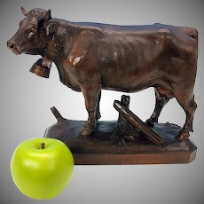Big masterpiece Black Forest carved wood Cow figure