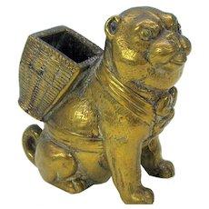 Victorian bronze Pug dog match holder striker