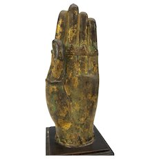 Antique gilded Thai or Tibetan bronze hand with rings mounted