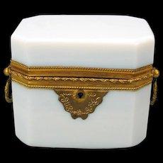 Antique French Grand Tour opaline glass & ormolu dresser box casket