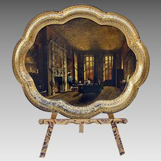Best big 1800's painted toleware tin tray of family in Castle Interior scene
