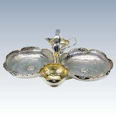 Hukin & Heath Arts & Crafts figural Peony flower strawberry server silver plated