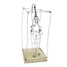 Boston artist Richard Bertman wire sculpture-Man in shower