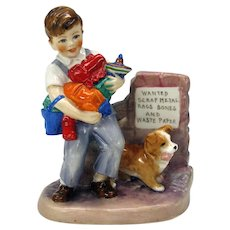 """Royal Worcester Wartime figure figurine by E. Soper """"Salvage"""" Boy with toys & Corgi puppy"""