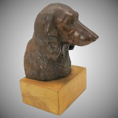 Masterfully carved wood bust of an Irish Red Setter dog