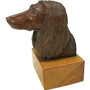 Masterfully carved wood bust of a Afghan hound dog