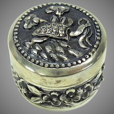 Vintage Chinese Export silver patch box with Turtle-signed