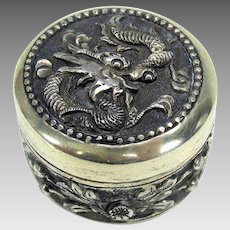 Vintage Chinese Export silver patch box with Dragon-signed
