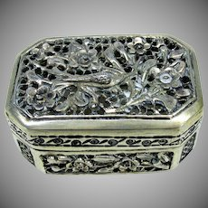 Reticulated Chinese Export silver cricket or patch box signed #1
