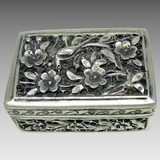 Signed Chinese Export silver reticulated box for cricket or patch #2