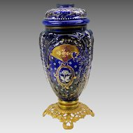 Victorian cobalt enameled glass blown out oil lamp