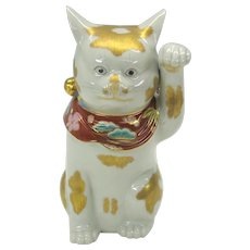 Vintage Japanese kutani Maneki Neko lucky cat figure