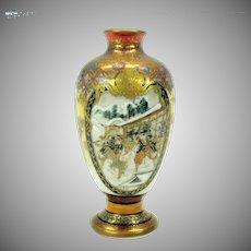 Signed Japanese Kutani porcelain dolls house miniature size vase urn