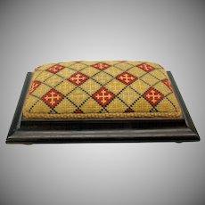 Victorian tabletop large stickpin cushion-tapestry top on bun feet