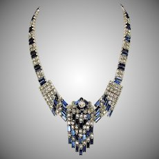 Vintage Kramer of NY Deco inspired rhinestone runway statement necklace