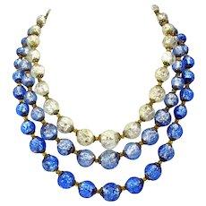 Vintage Czech triple strand blue & white foil glass bead necklace