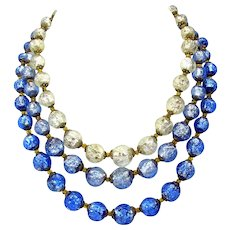 Vintage Czech triple strand blue & white foil glass bead necklace