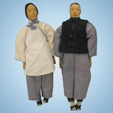 Pair of neat mint Door of Hope Chinese dolls carved Pear wood