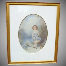 Large 19th Century signed watercolor of little girl with basket flowers W Buckler 1855