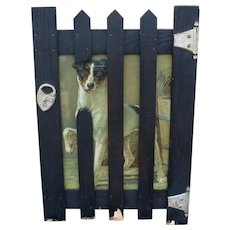 Victorian novelty frame as padlocked gate with chromolitho picture of Jack Russell Terrier dog