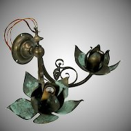 Arts & Crafts copper double wall sconce bracket with flowers Mission period