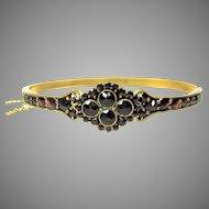 Victorian silver gilt Bohemian garnet bangle bracelet