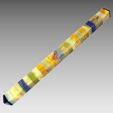 """Vintage striped specimen marble obelisk style desk paper weight 12 3/4"""" long"""