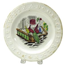 Antique Staffordshire ABC plate Peacock