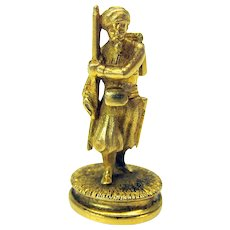 19th Century 14k gold figural Military man with beard  intaglio wax seal Royalty