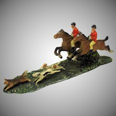 Antique cold painted white metal English Hunt scene-2 riders and dogs chasing fox #1