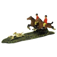 Antique cold painted metal English Hunt scene 2 riders and dogs