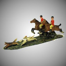 Antique cold painted white metal English Hunt scene-2 riders and dogs chasing fox #2
