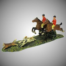Antique cold painted white metal English Hunt scene-2 riders and dogs chasing fox #3