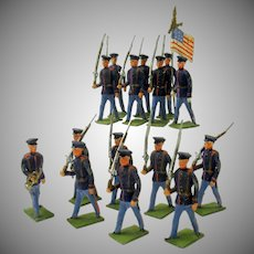 Set 20 antique American cold painted lead soldiers Civil war or later