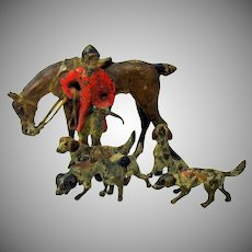 Antique Austrian cold painted bronze English Hunt scene with dogs