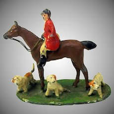 Antique cold painted white metal Hunt Scene figure-Rider on horse 3 dogs