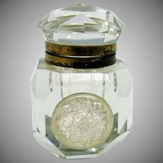 Unusual Victorian large glass inkwell with sulphide front
