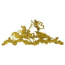 Big antique gilded bronze frieze of cherub in chariot furniture hardware decoration