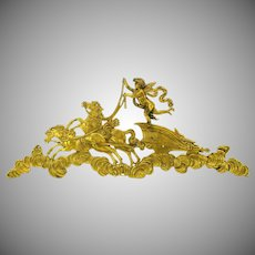 Big antique gilded bronze frieze of cherub in chariot furniture hardware decoration
