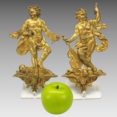 Pair big antique gilded bronze figural cherub plaques for furniture doors