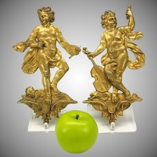 Pair big antique gilded bronze figural cherub plaques for furniture doors