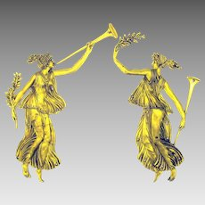 Pair of antique gilded bronze Maidens with flutes furniture appliques friezes