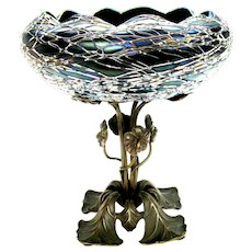 Art Nouveau bronze mounted Art Glass centerpiece