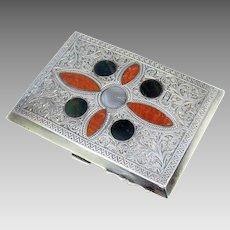 Antique Scottish Agate & sterling silver card case Aide de memoire
